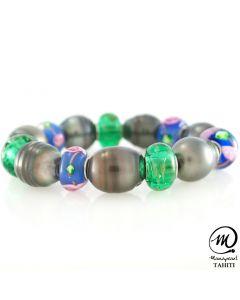 Tahitian pearl bracelet with Murano beads, Baroque