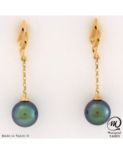 18K Yellow Gold Tahitian Pearl Earrings