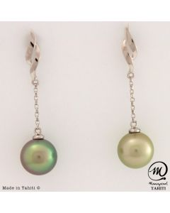 18K White Gold Tahitian Pearl Earrings