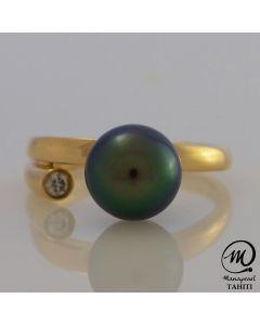 18K Gold Diamond Tahitian Pearl Ring