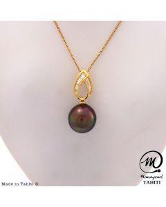 18K Gold Diamond Tahitian Pearl Pendant, 11 mm Drop