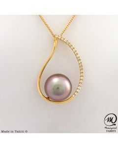18K Gold Diamond Tahitian Pearl Pendant, 10,1 mm Round