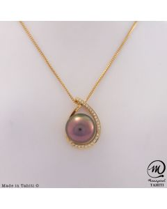18K Gold Diamond Tahitian Pearl Pendant, 10,2 mm Round