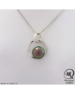 18K Gold Diamond Tahitian Pearl Pendant