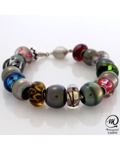 Tahitian pearl bracelet with Murano beads, Baroque