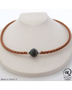 Unisex Leather Tahitian Pearl necklace 14mm
