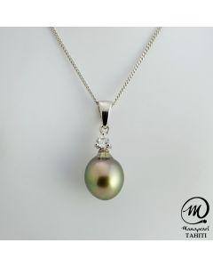 Silver Tahitian Pearl Pendant, 9 mm Drop Pearl