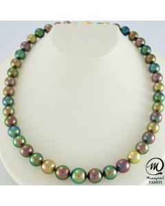 Exceptional Tahitian Pearl Necklace Choker, Round pearl