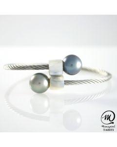 Tahitian Pearl Braided Steel Bracelet