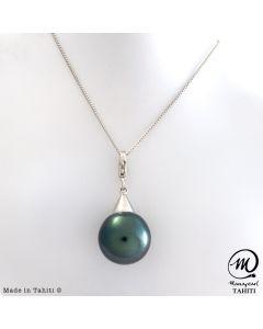 Silver Tahitian Pearl Pendant, 14 mm Baroque pearl