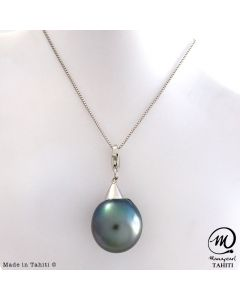 Silver Tahitian Pearl Pendant, 15 mm Baroque pearl