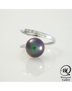 Silver Tahitian Pearl Ring, Round AAA 9 mm