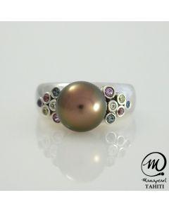 Silver & Sapphire Tahitian Pearl Ring