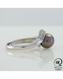 `Silver Tahitian Pearl Ring