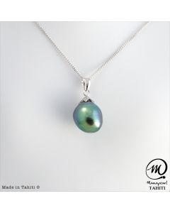 14K White Gold Tahitian Pearl Pendant, 11mm baroque pearl