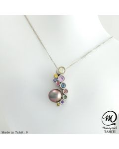 Silver & Sapphire Tahitian Pearl Pendant,  Round Pearl