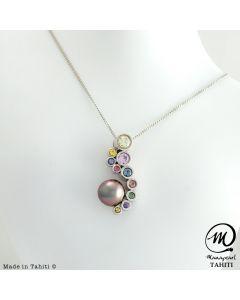 Silver & Sapphire Tahitian Pearl Pendant,  Round Pearl