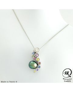 Beautiful Silver & Sapphire Tahitian Pearl Pendant, 9 mm Drop Pearl