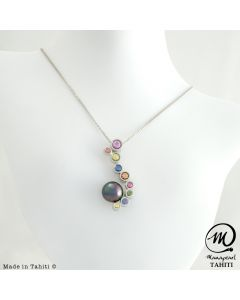Silver & Sapphire Tahitian Pearl Pendant , 8 mm Round Pearl