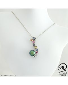 Beautiful Silver & Sapphire Tahitian Pearl Pendant , 9 mm Drop Pearl