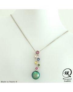 Beautiful Silver & Sapphire Tahitian Pearl Pendant , 8 mm Round Pearl