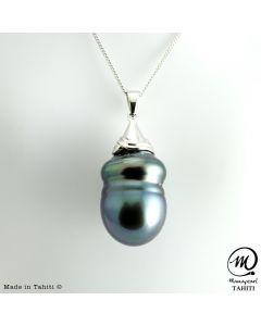 Silver Tahitian Pearl Pendant, 15mm Baroque Pearl