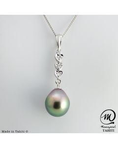 Silver Tahitian Pearl Pendant, 10 mm Drop Pearl