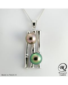 Silver Tahitian Pearl Pendant, 9 mm ROUND pearl