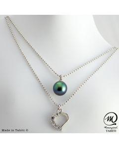 Silver Tahitian Pearl Pendant, 8 mm Drop pearl