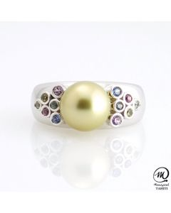Silver & Sapphire Tahitian Pearl Ring