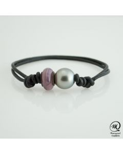Leather Tahitian Pearl Bracelet