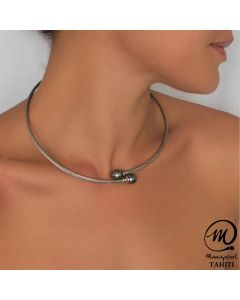 Tahitian Pearl Cable Braided Steel Necklace